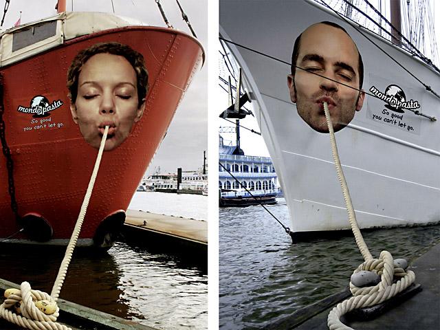 mondo pasta boat decal advertising