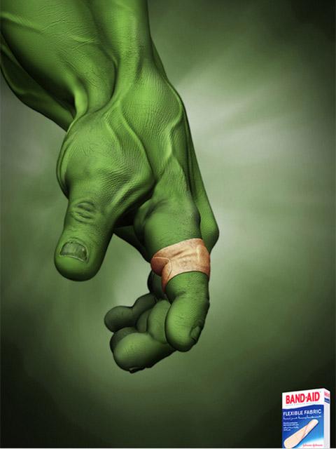 print ad | band-aid flexible fabric | incredible hulk