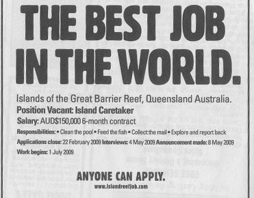 best job in the world classified ad