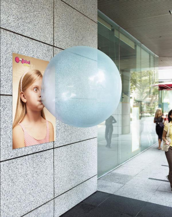 balloon blowing bubble gum poster