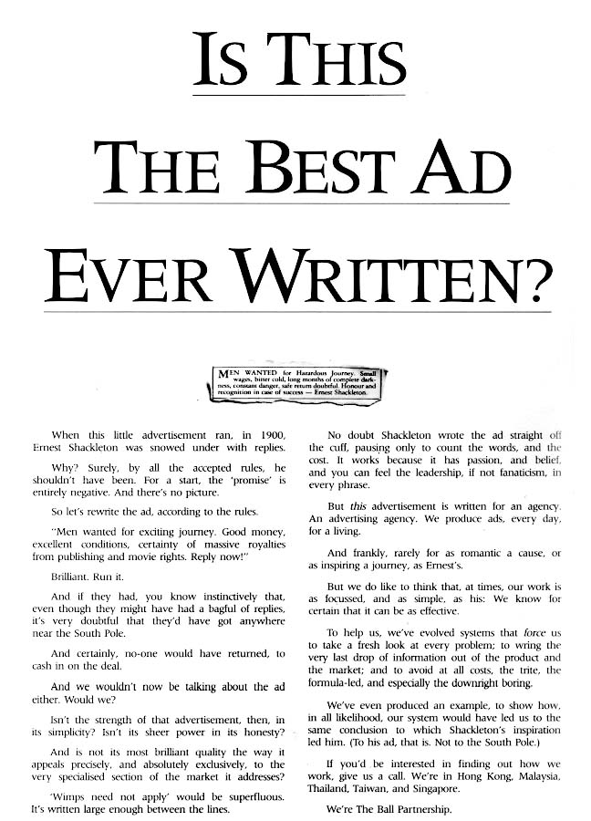 best ad ever written shackleton expedition the big ad