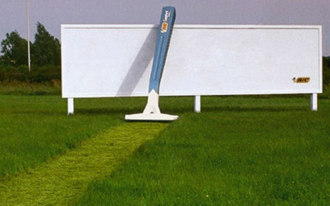 bic razor cuts grass path to billboard
