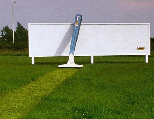 bic razor cuts grass path to billboard
