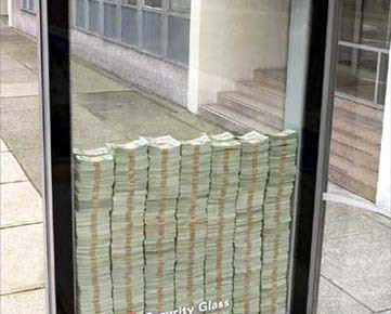 money inside security glass case 3M