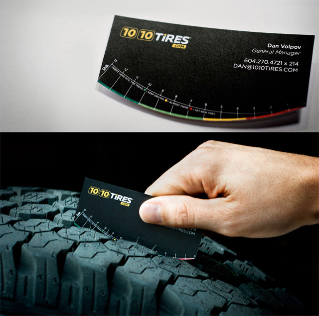 tire store tread gauge business card
