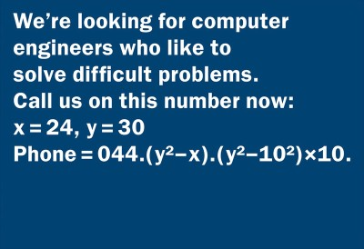 classified ad math test for job opening