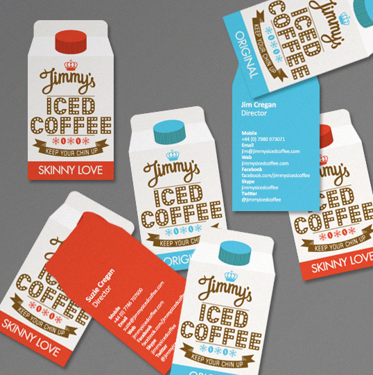 diecut 2-color business card jimmys iced coffee