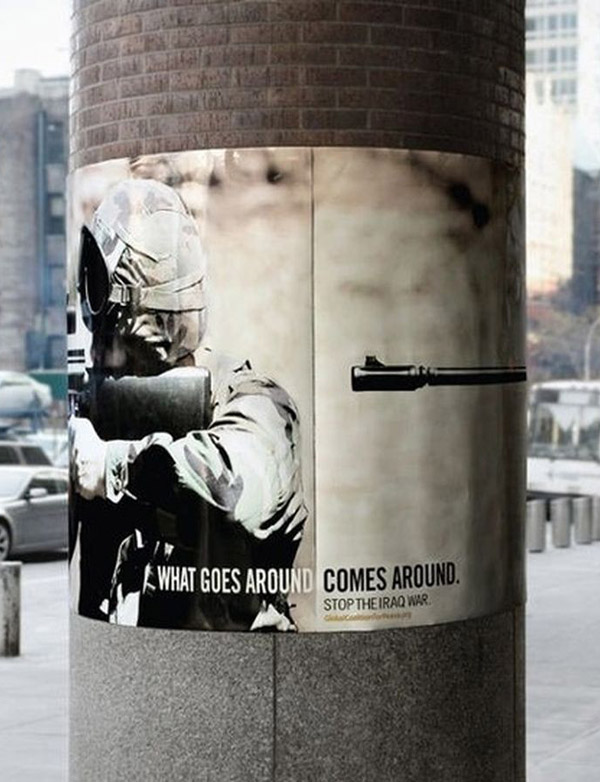 what goes around, comes around anti war gun poster