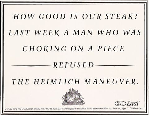 how good is our steak? man refuses heimlich
