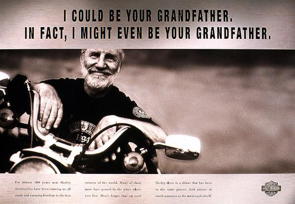 i might even be your grandfather harley davidson print ad