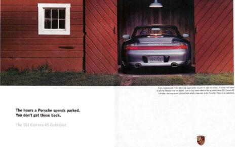 parked porsche print ad