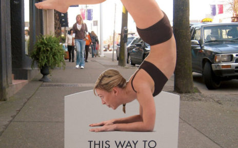 yoga poster directional street sign