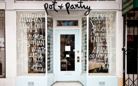 clever storefront hand lettering