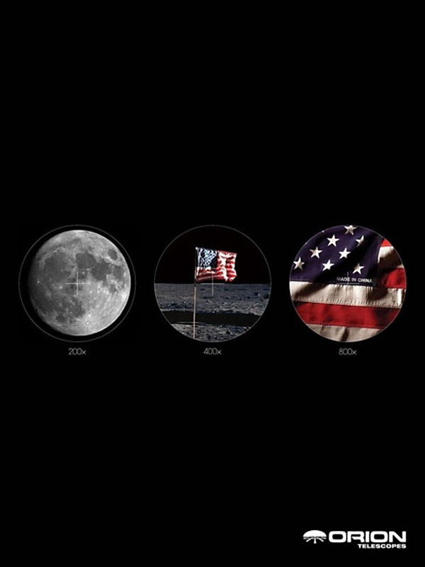 print ad telescope viewing flag details on moon