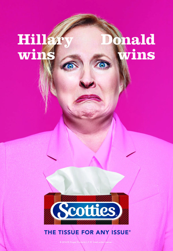 hillary wins donald wins scotties tissues