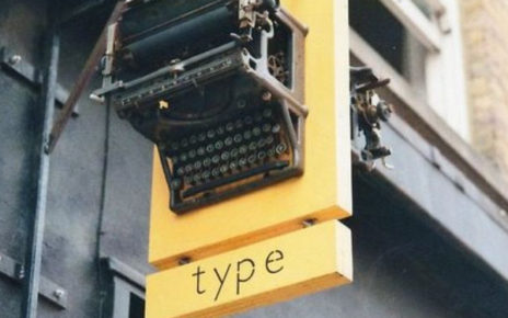 typewriter storefront sign