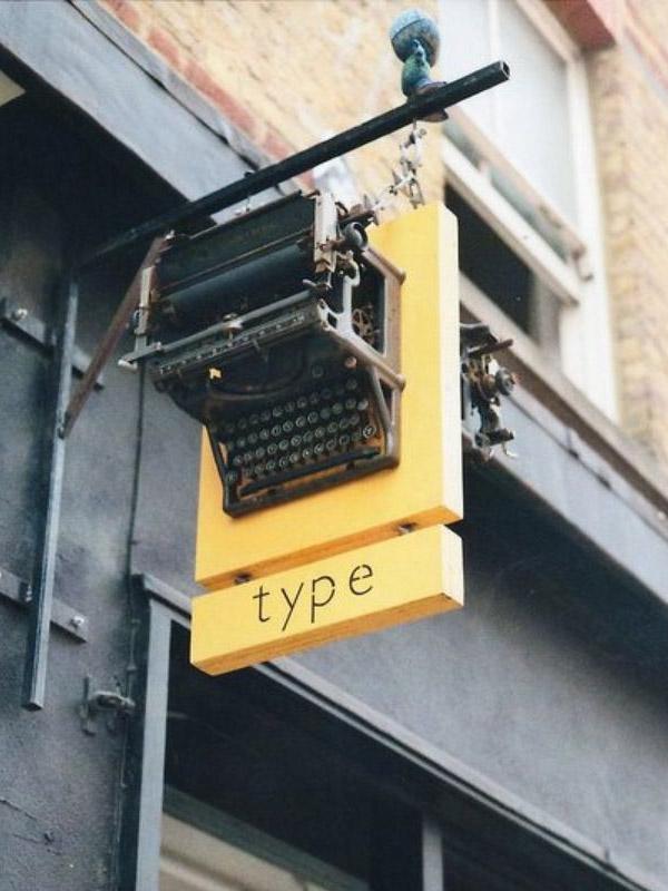 typewriter storefront sign