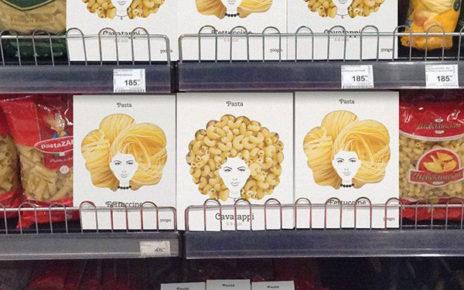 pasta packaging looks like women's hair