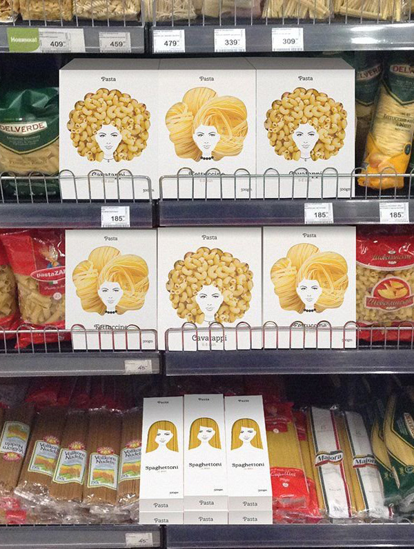 pasta packaging looks like women's hair