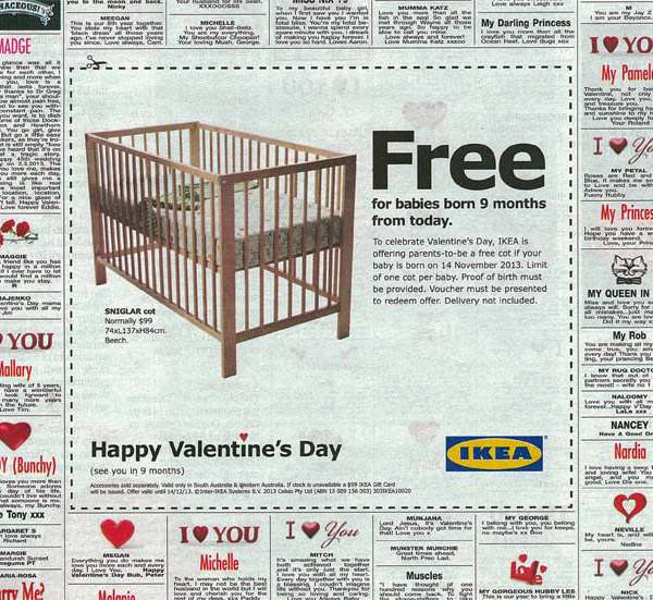 happy valentines day  baby  ikea  big ad