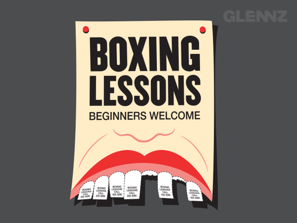 boxing lessons tear off flyer teeth knocked out the big ad