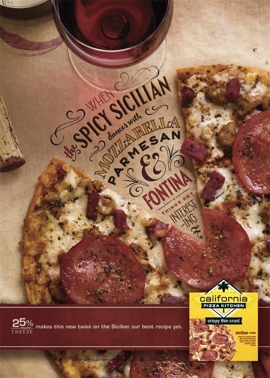 beautiful design handwritten font print ad California Pizza Kitchen