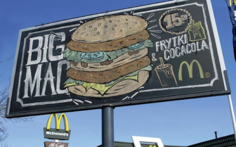 hand drawn graffiti style billboard McDonalds