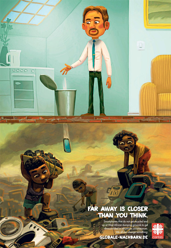 print ad shows how our waste impacts others