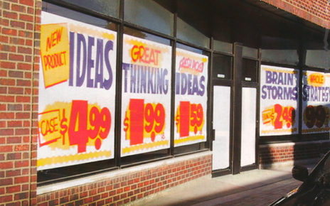 Retro Grocery Store Style Window Advertising for Advertising Agency