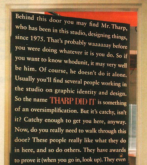 Door covered in advertising copy (top half) | Tharp Did It
