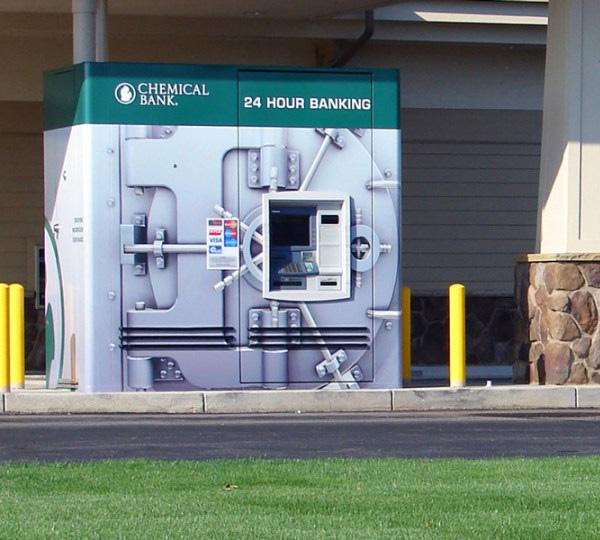 atm machine resembles bank vault security