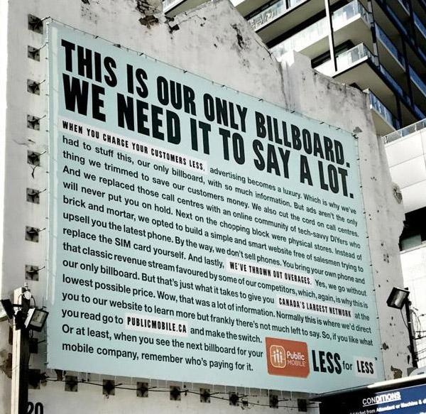 long copy billboard Public Mobile