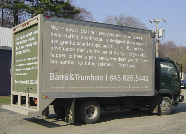 long copy advertising message on truck wrap