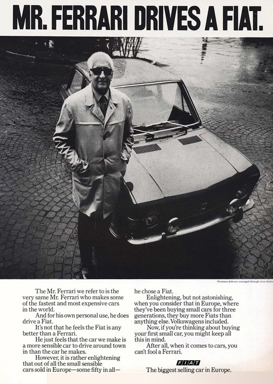mr ferrari drives a fiat testimonial magazine ad