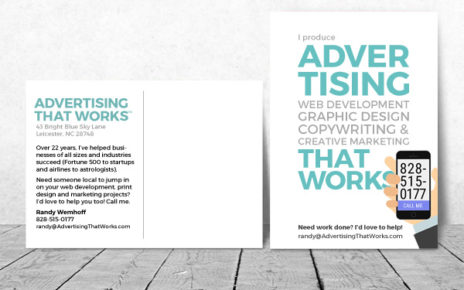self promo postcard asheville, nc web and advertising designer