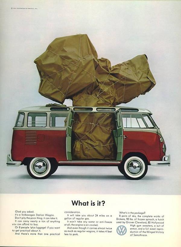 classic VW ads - van carries a lot of stuff