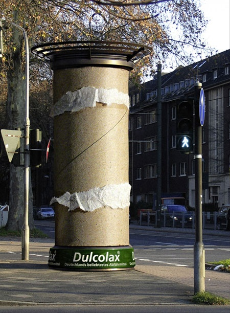 street marketing pole sign for laxative in germany