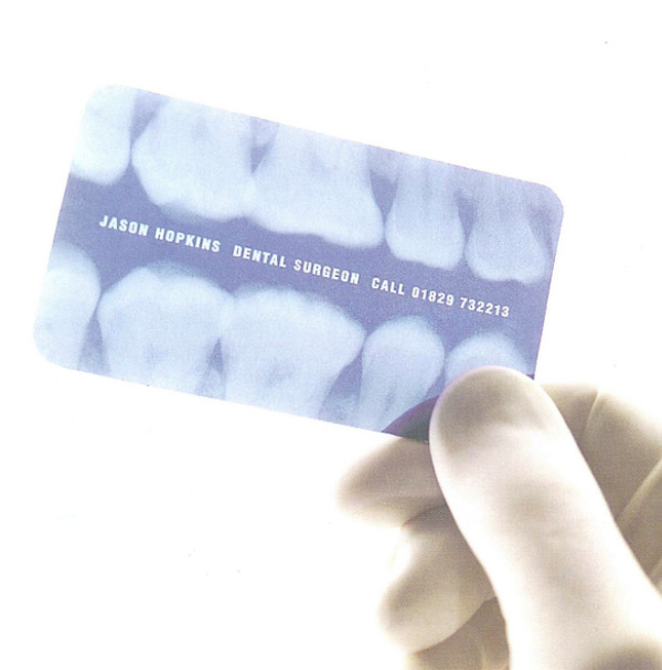 dental office business card printed on x-ray film