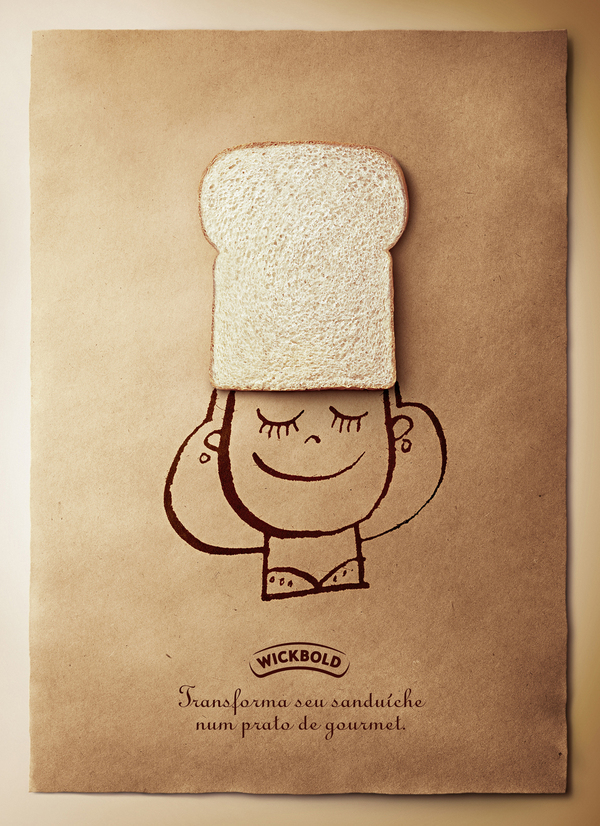 simple, hand drawn print ad for bread