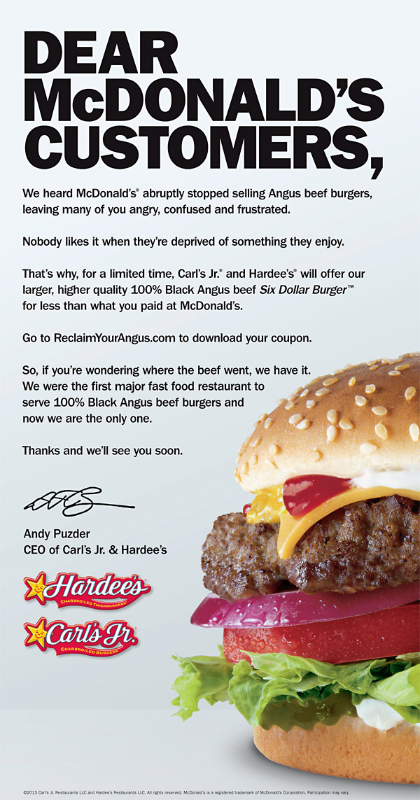 head to head competition Hardees vs McDonalds