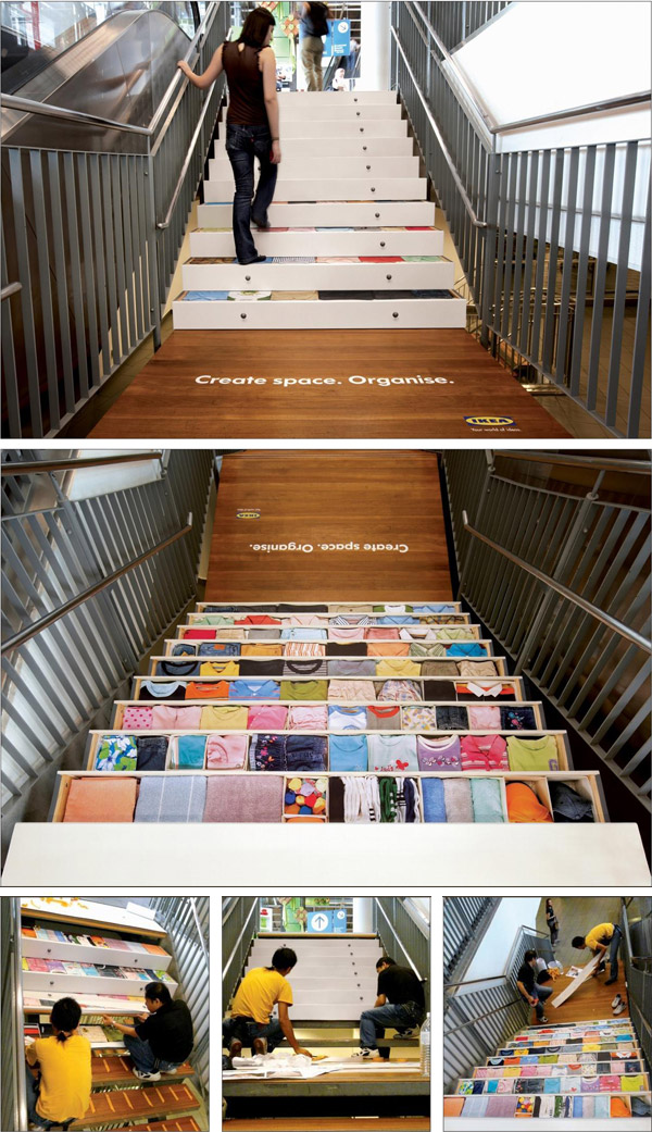 instore designed steps that look like well-organized drawers ikea