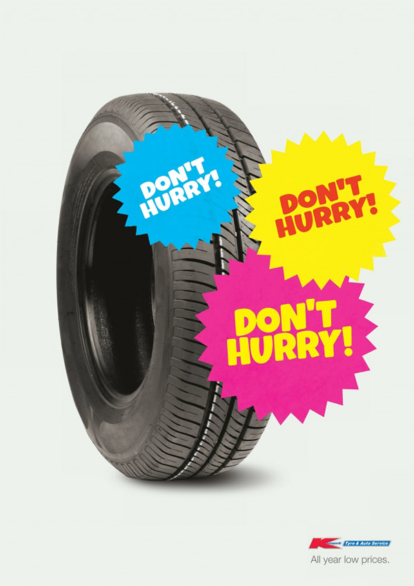 opposite of urgency - everyday low prices - kmart tire shop