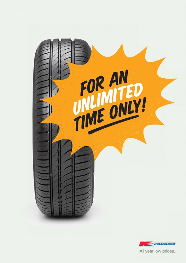 opposite of urgency - everyday low prices - kmart tire shop advertising
