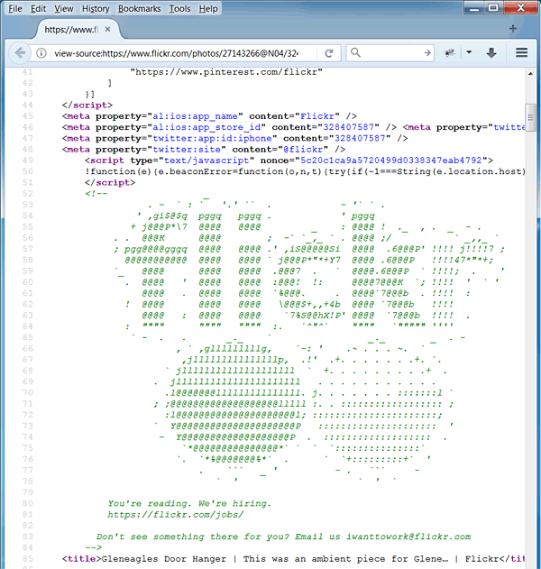 help wanted notice hidden in web page source code