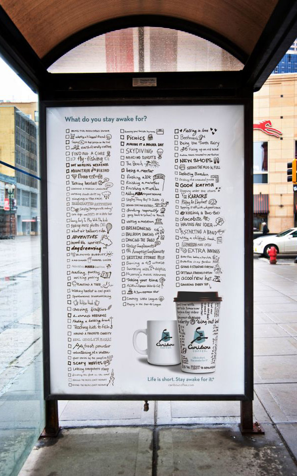 long-copy bus stop poster | caribou coffee