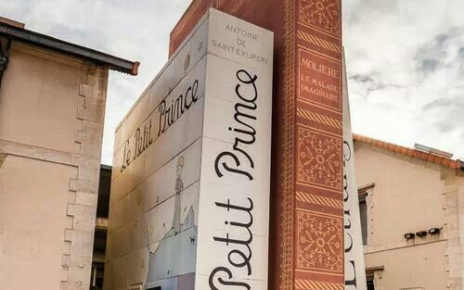 storefront of french bookstore resembles real books