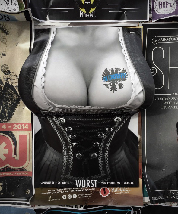 3D boobs poster oktoberfest wurst