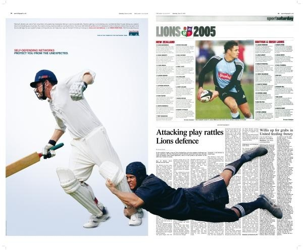 action across two-page spread ad