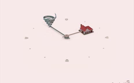 clock showing tornado striking home