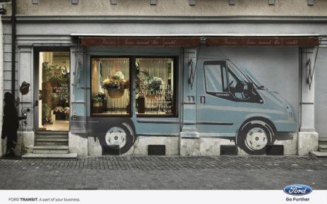 flower shop storefront design ford transit print ads